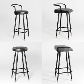 新中式皮革吧椅组合3D模型
