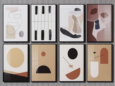 现代抽象装饰画3d模型