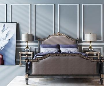欧式双人床 欧式古典双人床 床头柜 装饰画 台灯