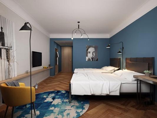 北欧宾馆包间 北欧客房 宾馆包间 双人床 书桌椅 落地灯 吊灯 床品 标间