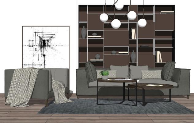 现代沙发茶几书柜组合SU模型