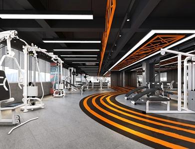 现代工业风健身房 工业风其他 健身器材 跑步机 杠铃 吧台 吊灯 装饰画 摆件