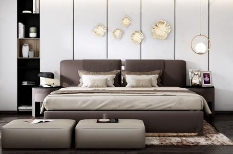 现代轻奢双人床组合 现代双人床 轻奢床 床头柜 台灯 床尾凳 地毯 抱枕 边几 摆件