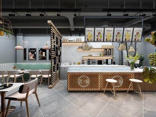 工业风奶茶甜品店咖啡馆 工业风咖啡厅 收银台 就餐区 吧台 把灯 吊灯 隔断 椅子 卡座 奶茶店 甜品 咖啡 冷饮