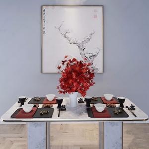 新中式餐具组合 新中式厨房用品 餐桌 碗筷 茶杯 墙饰 挂画 花瓶 植物 枫叶