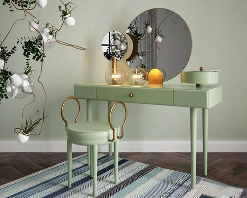 北欧梳妆台 北欧梳妆台 凳子 梳妆镜 台灯 地毯