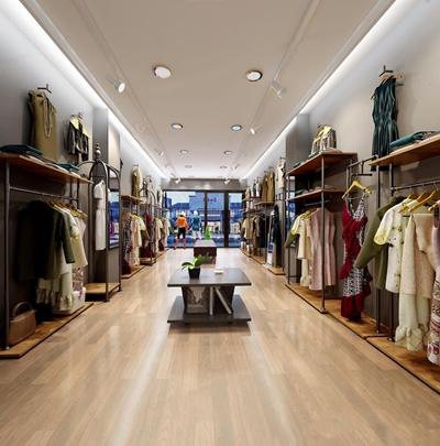 现代服装店 衣服 衣架 长条凳