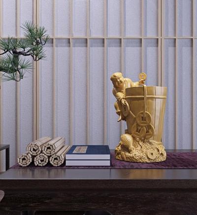 招财童子艺术摆件 新中式招财童子 艺术摆件 盆栽 茶几