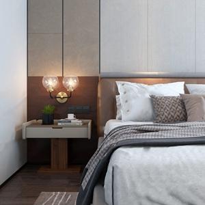 现代轻奢床具组合 现代双人床 床头柜 壁灯 绿植