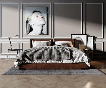 现代双人床 现代双人床 地毯 抱枕 边柜 摆件