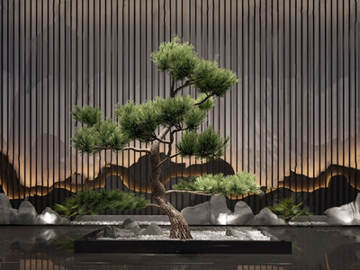 中式迎客松盆景 中式盆栽盆景 迎客松 假山 花格屏风