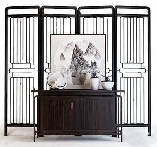 新中式屏风玄关柜摆件组合 新中式边柜/玄关柜 屏风隔断 饰品摆件 陶瓷器皿