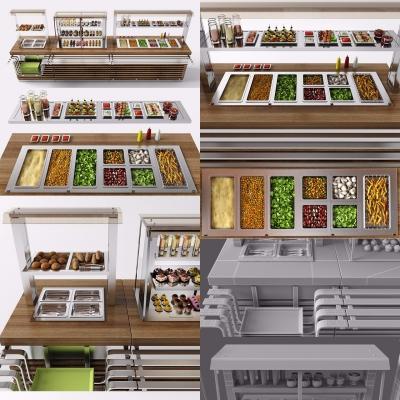 现代快餐台外卖快餐车3D模型