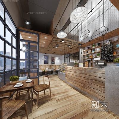 工业风甜品店 工业风咖啡店 甜品 店 收银台 吊灯 餐桌 椅子