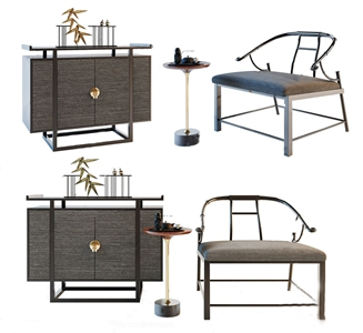 新中式装饰柜单椅 新中式桌椅组合 边柜 玄关柜 角几 饰品摆件