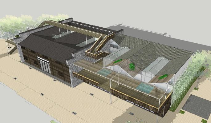 新中式博物馆SU模型