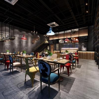 工业风咖啡厅软装 工业风餐厅 餐桌椅 吊灯 齿轮 楼梯 盆栽 前台 铁艺灯