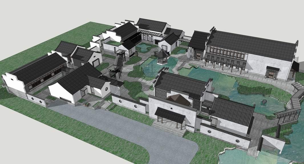 中式国家画园SU模型