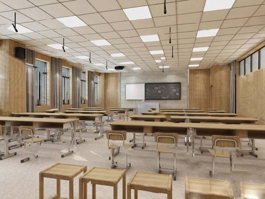 现代录播教室3D模型