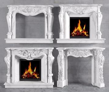 简欧大理石壁炉组合 简欧壁炉 大理石壁炉 壁炉组合