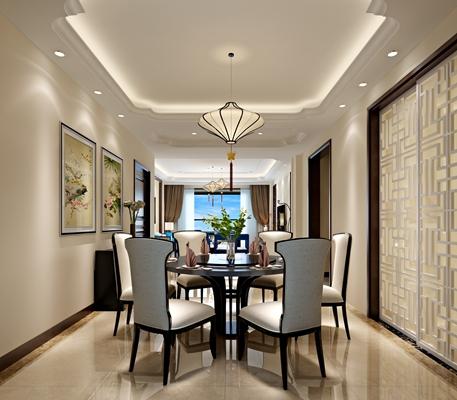 新中式家居餐厅 新中式吊灯 新中式餐桌椅组合 长方形装饰画