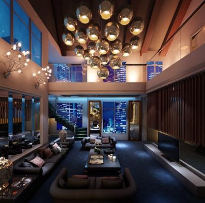 现代复式客厅 现代吊灯 现代沙发茶几组合 现代多人沙发