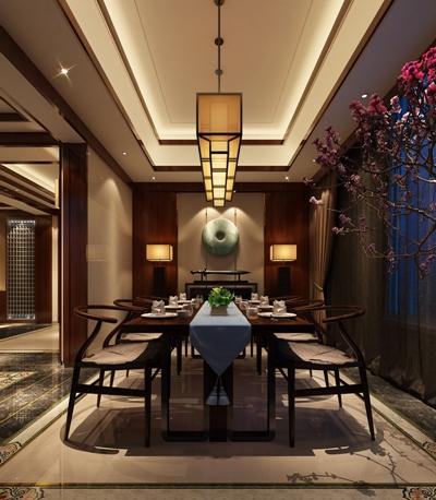 新中式别墅餐厅 新中式吊灯 新中式餐桌椅组合