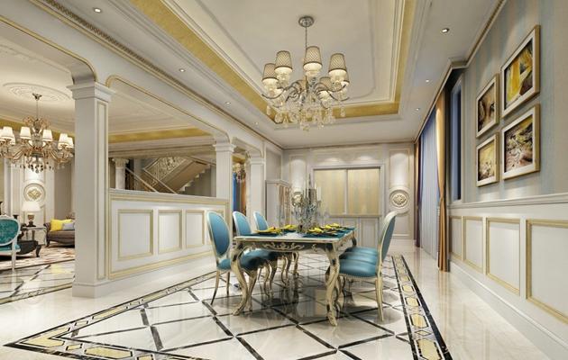 欧式简约家居餐厅 欧式简约水晶吊灯 欧式简约蓝色皮质餐桌椅组合 长方形木艺油彩装饰画