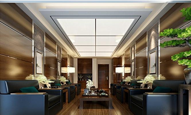 现代接待室 传统中式长方形红木板式茶几 现代黑色皮质沙发茶几组合 绿色景观树