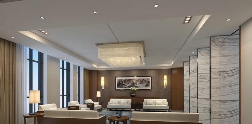 现代接待室 现代黄色水晶吸顶灯 黑色长方形木艺装饰画