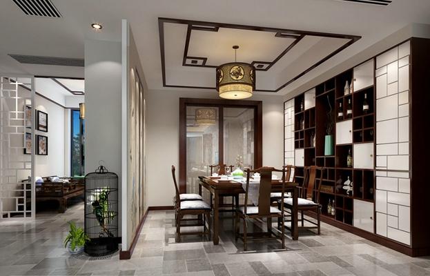 新中式家居餐厅 新中式木艺雕花吊灯 新中式棕色木艺餐桌椅组合
