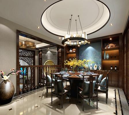 新中式别墅餐厅 新中式黑色金属吊灯 新中式棕色木艺餐桌椅组合 新中式棕色长方形木艺酒柜