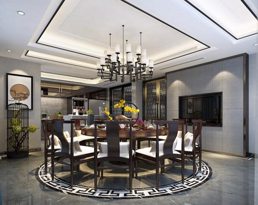 新中式家居餐厅 新中式木艺吊灯 新中式木艺餐桌椅组合
