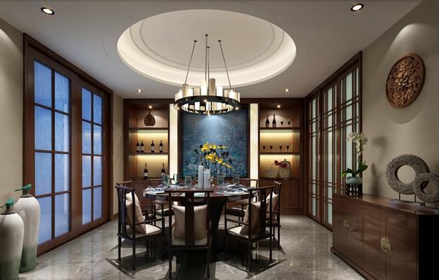新中式家居餐厅 新中式铁艺吊灯 新中式木艺餐桌椅组合