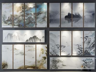 新中式装饰挂图 新中式挂画 装饰画组合