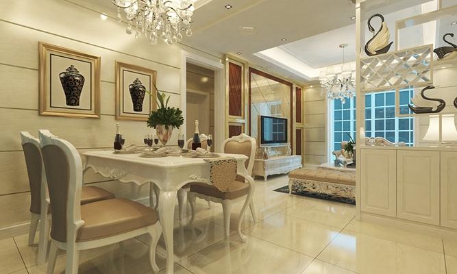 欧式简约白色家居餐厅 欧式简约白色木艺餐桌椅组合 金色方型木艺装饰画 陶艺装饰品