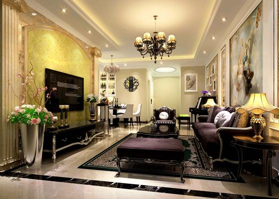 欧式新古典客餐厅 欧式新古典黑色木艺电视柜 欧式新古典紫色布艺脚凳
