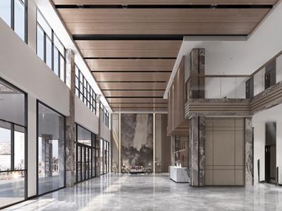 新中式办公楼大堂前台3d模型