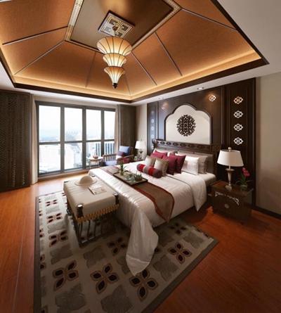 东南亚卧室床具组合 东南亚卧室 双人床 床头柜 床尾凳 沙发椅 吊灯 台灯