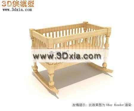 精细的婴儿床3D模型