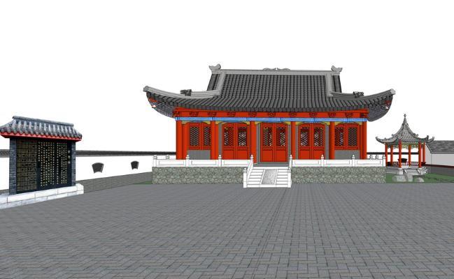 乡村寺庙SU模型