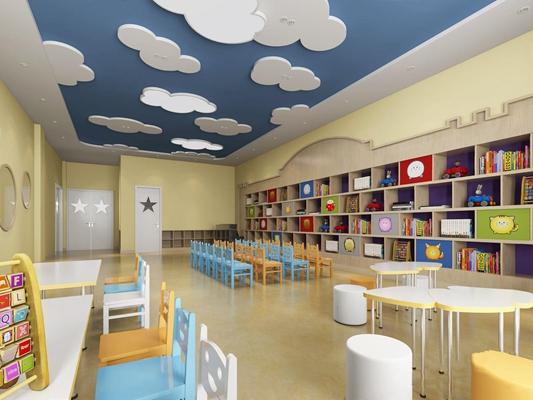 幼儿园小班 学校 教室 幼儿园 小班 壁柜 吊顶 椅子 桌子 玩具 凳子