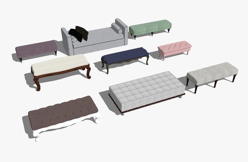 床尾凳组合SU模型
