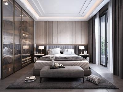 现代卧室 现代卧室 双人床 主人房 衣柜 装饰品 台灯 窗帘 抱枕
