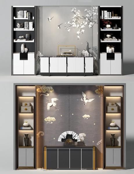 新中式边柜书柜背景墙3d模型