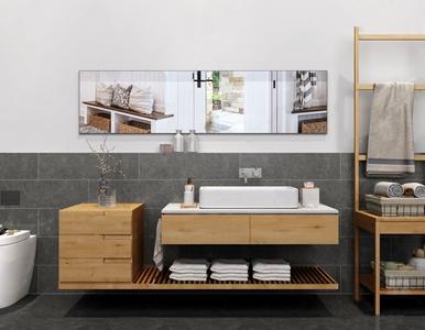 现代简约风格卫生间 现代卫浴用品 洗手台 置物架 马桶 毛巾