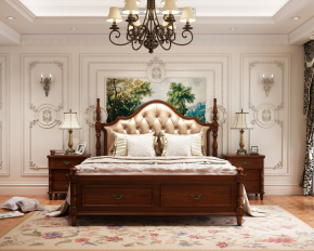 欧式床头背景墙双人床灯具床头柜组合3D模型
