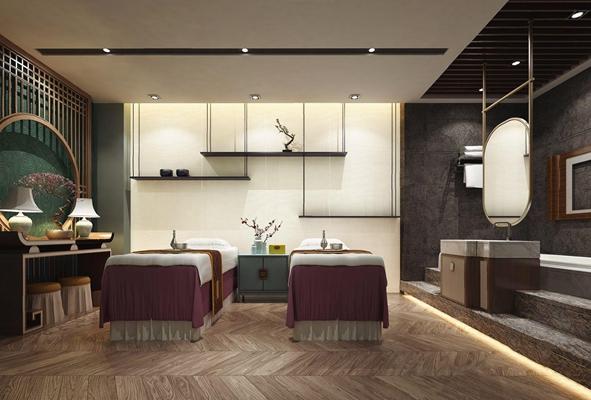 新中式SPA 新中式spa 会所 按摩床 端景台 洗手台 浴缸 盆栽 摆件