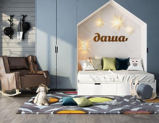 现代儿童房家具组合 现代单人床 单人沙发 玩具 地毯