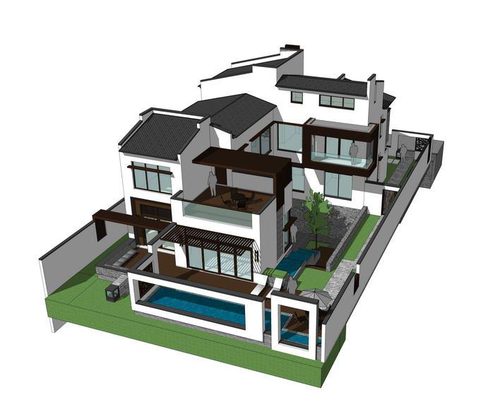 現代中式別墅SU模型